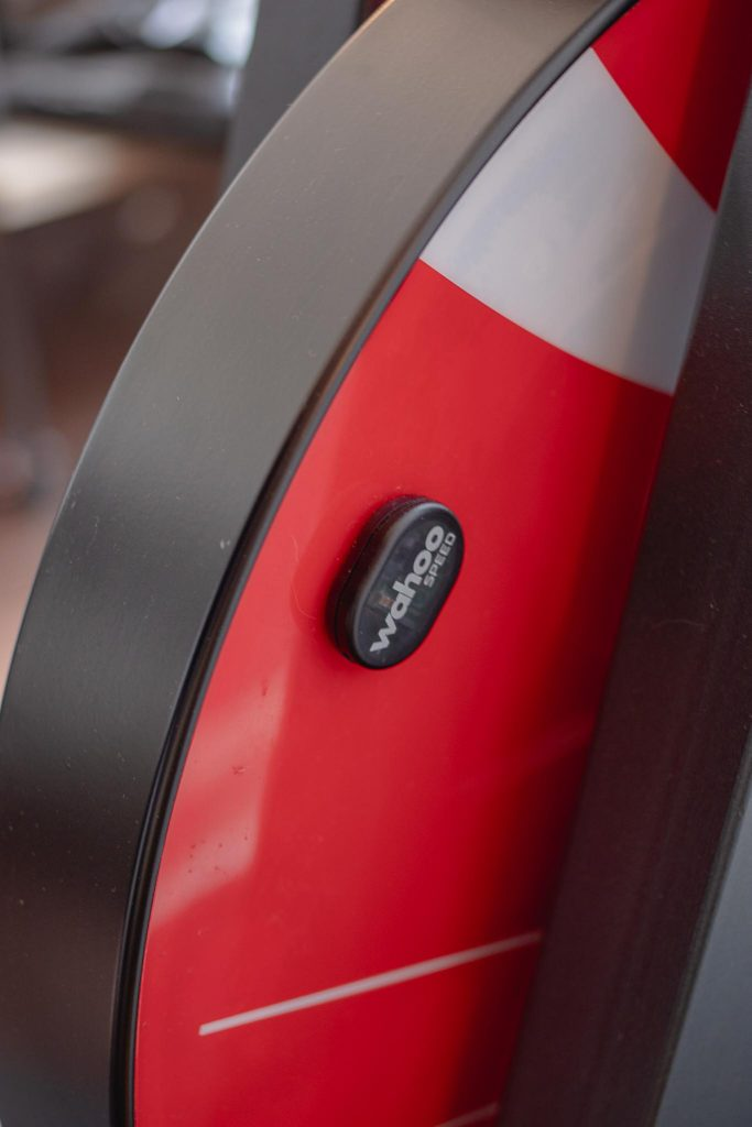 My Peloton Bike Alternative by Techmomogy - Wahoo Speed sensor mounted to weighted flywheel